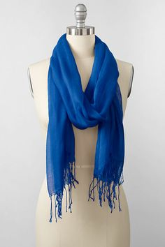 Womens Diagonal Striped Scarf - BLUE Lands End