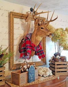Shabby Chic home decor explanation number 1943918793 to plan with for one wonderfully smashing, exciting escape. Kindly jump to the web link today for other clues. Deer Mount Decor, Deer Head Decor, Christmas Mantels, Christmas Deer, Christmas Decorations, Cabin Christmas, Rustic Christmas, Christmas Stuff, Xmas