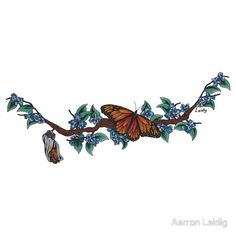 Monarch Butterfly and Cocoon by Aarron Laidig Tattoo Flash Art Sticker