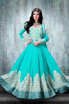 Blue Designer Anarkali Suit. Price: RM515.00 Product Description Semi Stitch Dress Blue Designer Anarkali Suit are now in store embellished with heavy zari, resham embroidery, stone work with Hand work and Lace border with blue chiffon dupatta. http://www.andaazfashion.com.my/salwar-kameez/anarkali-suits/view/new-arrival-anarkali-suits/blue-designer-anarkali-suit-dmv13151.html