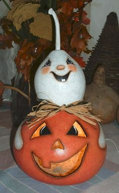 Light UP JackOLantern and Ghost Gourd  Hand by FromGramsHouse, $35.00