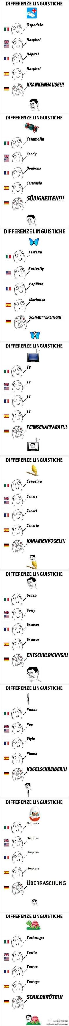 Different languages... German does sound awfully... angry! :)