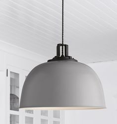 industrial modern farmhouse pendant light | gray pendant light | Butte Dome Pendant - 18in | Rejuvenation