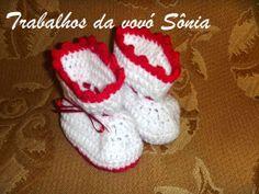 Trabalhos da vovó Sônia: Sapatinho de bebê (botinha) Hannah - croché