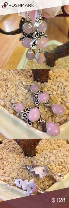 Rose quartz 925 earring Amazing relaxing stone marked 925 Vintage Jewelry Earrings
