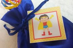 PARTY PACK Sets of 6 to 12 - Wonder Woman / Super Hero Girl Blue Favor Bags (Filled) - by TeatotsPartyPlanning on Etsy