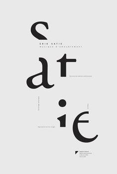 Affiches typographiques pour deux compositeurs de musique d'ambiance, Brian Eno et Érik Satie, présentées pour une chaîne radio expérimentale.: