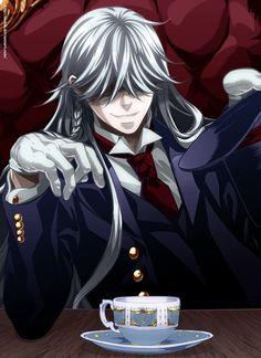 Black Butler ~~~~ The Undertaker. I have a thing for the undertaker Black Butler Undertaker, Black Butler 3, Black Butler Anime, Ciel Phantomhive, Shinigami, Black Butler Characters, Anime Characters, Fanart, I Love Anime