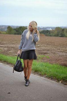 fe0bd1e46e9 Sandro sweater, Zara skirt, Chloé Susanna boots, Céline Phantom bag  www.peerlesscloset.com