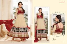 Stunningly Beautiful Beige and Maroon colored Georgette Anarkali with awesome Embroidery work en-crafted. Comes along with Matching Shantoon Bottom and Chiffon Duppatta finely Embroidered.