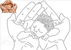 Baby in hand Sashiko Embroidery, Paper Embroidery, Embroidery Patterns, String Art Templates, String Art Patterns, Kawaii Cross Stitch, Stitching On Paper, Aluminum Can Crafts, Mandala Art Lesson