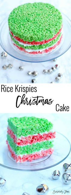 Rice Krispies Christmas Cake! Enjoy this fun twist on rice krispies treats dessert for the holidays! #rice #krispies #treats #cake #dessert #christmas #holiday #holidays #winter #easy #frosting