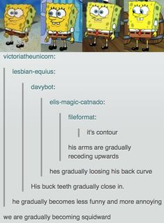 """This analysis of the evolution of Spongebob: 