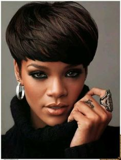 Rihanna Short Angeled Bowl Hairstyles