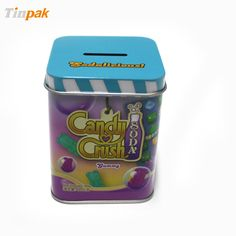 The candy tin box is one of the hot sale tin boxes of our range of square tin boxes. It is not only used for packaging, and the second use is a coin bank for kids. http://www.tinpak.us/Products/WholesaleSquareCandyTinBox.html
