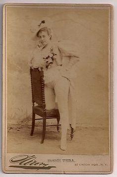 Circa 1880 cabinet photograph theater actress Irene Vera. Sarony Studio New York