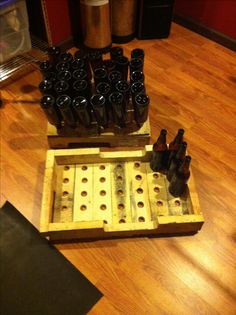 Home brew bottle dry rack/ bottle storage tray made with a pallet