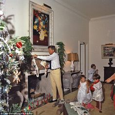 President Kennedy and kids enjoy Christmas Day in Palm Beach in 1962. (Palm Beach, Florida)