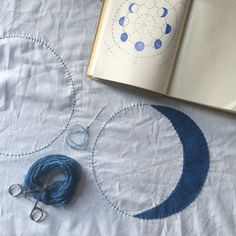 The start of the moon phases quilt top. Indigo dyed sashiko thread and appliquéd moon phases.