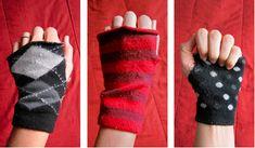 No sew fingerless gloves from socks
