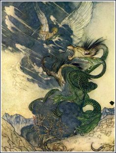 Wonderful, Beautiful, and Strange Finds : Arthur Rackham. From Hawthorne's Wonder Book, 1922 | The Chimera defeated by Bellerophon, with the help of Pegasus