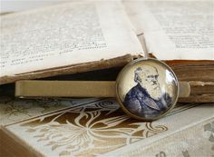 Charles Darwin Tie Clip - Darwin Tie Bar in Brass Or Silver