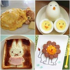 Unique And Neat Breakfast Ideas! Cute Cartoon Food, Cute Food, Tasty, Yummy Food, All Things Cute, I Want To Eat, Food Art, Kids Meals, Snacks