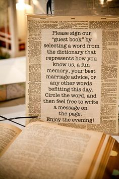 explains the guest book perfectly! You can find old dictionary's on etsy or in used book stores!