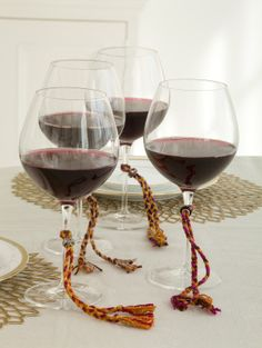 Make a different kind of wine glass charm...Wine Glass Braids.  Love this idea!