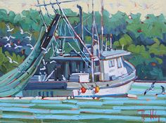 """Cleaning the Net,"" by Rene Wiley by Rene' Wiley Gallery Oil ~ 12 x 16"