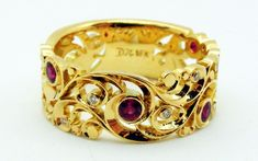 Hand engraved ring by Dmitriy Pavlov in yellow gold with rubies and diamonds. Available at Studio Jewelers Hand Piercing, Hand Engraving, Handcrafted Jewelry, Bridal Jewelry, Jewelry Crafts, Diamonds, Fashion Jewelry, Jewels, Studio
