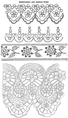 Ladies Of The Arthur's For November 1861 Brush Embroidery, Wedding Embroidery, Cutwork Embroidery, Hand Work Embroidery, Shirt Embroidery, Vintage Embroidery, Embroidery Stitches, Embroidery Patterns, Machine Embroidery