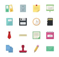 Introducing the new Office Vector Icons Pack! Included in this pack are sixteen different office vector icons and business icons. Use these clock vectors, tie #vector icons, and other office vector #icons in your upcoming projects.