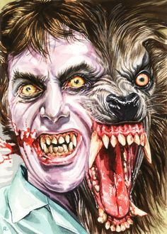 "graemeneilreid: "" ""Have you tried talking to a corpse? It's boring."" An American Werewolf in London, watercolour, A6. """
