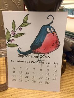 Crazy Birds Mini Calendar Sept 2016 by whitetigers - Cards and Paper Crafts at Splitcoaststampers