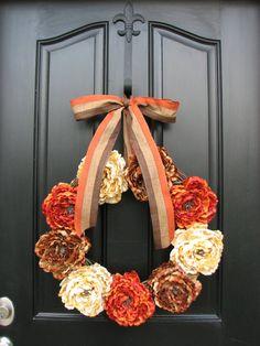 Fall Wreaths Autumn Wreaths Fall Decor Front Door by twoinspireyou Front Door Decor, Wreaths For Front Door, Door Wreaths, Front Porch, Autumn Wreaths, Holiday Wreaths, Wreath Fall, Fall Crafts, Diy Crafts