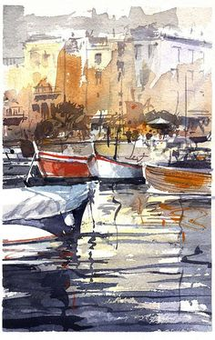 Tony Belobrajdic Watercolor - Somewhere in Italy Watercolor Water, Watercolor Landscape, Painting & Drawing, Watercolor Paintings, Watercolours, Double Exposition, Watercolor Architecture, Urban Sketching, Love Art