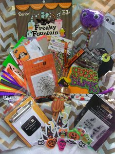 This listing is for one Halloween themed Surprise Goody Box. You will receive a kit filled with fun stationery items. Some items are store