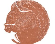 Hand pulled limited edition  linocut print of a Squirrel
