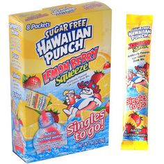 Sugar Free Hawaiian Punch Lemon Berry Squeeze. The best on the go powder to put in your water i got mine at the dollar store. It gives your water some yummy flavor :)
