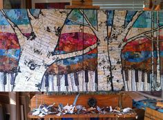 "Original Collage Artwork  24x24 ""Birch Keys""  in progress, on the easel  Available through the Grand Bohemian Gallery in Orlando, FL"