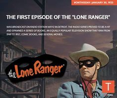 #‎ONTHISDAY‬: in 1933, the first episode of the Lone Ranger was broadcast on radio