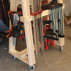 Mobile clamp rack the woodworker 39 s shop american for Mobile lumber storage rack plans