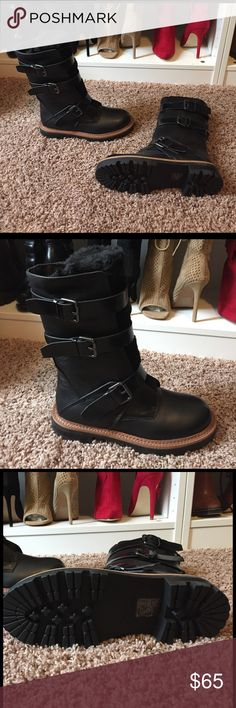 """ALDO buckle tractor sole boots Black three buckle design thick tractor sole """"furry fluff tongue"""" see last pic. Sole is lined in brown leather and stitched. NWOB Aldo Shoes Combat & Moto Boots"""