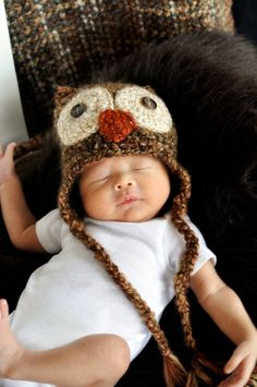 Crochet - PHOTO PROP- Fuzzy Hoot Crochet Owl Earflap Hat. $28.00, via Etsy. Made by Frosted Poppies @ www.frostedpoppies.etsy.com   Photography by www.ljcreativecaptures.com