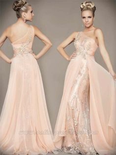 A Line One Shoulder Beading with Applique Flowers Floor Length Lace and Chiffon Coral Prom Gowns