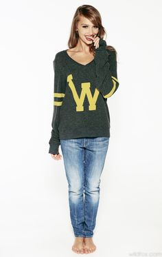 LETTERMAN VNECK BAGGY BEACH JUMPER at Wildfox Couture in - CLEAN BLACK, CHMP
