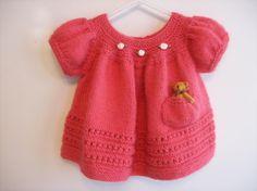 Baby Girl Dress Patterns | Sweet Baby Dress by Nan Knits | Knitting Pattern