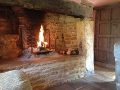 Cotswolds. A roaring fire at secret Cottage
