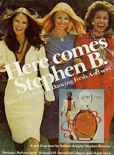 """Here comes Stephen B. From Mademoiselle, November That's Jaclyn Smith on the left, before she became one of """"Charlie's Angels. Makeup Ads, Retro Makeup, Vintage Makeup, Vintage Beauty, Retro Ads, Vintage Advertisements, Vintage Ads, Vintage Magazines, Jaclyn Smith"""